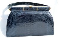 NAVY BLUE 1950's-60's CROCODILE Belly Skin Handbag - Gout de Paris