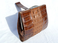 Lovely 1940's DECO Style Hornback CROCODILE Skin WRISTLET Bag