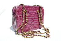 PURPLE 1990's ALLIGATOR Belly Skin Chanel Style Shoulder Bag - ITALY