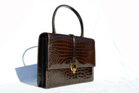 Stunning TRIOMPHE 1960's Brown CROCODILE Porosus Belly Skin Handbag - FRANCE