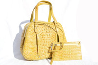 New! YELLOW Hornback Crocodile Skin Tote Handbag Shoulder Bag - RIVER