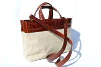 XL MAXIMA Cognac Alligator Belly Skin & Canvas Handbag Shoulder Bag Tote - Titti Del'Aqua - ITALY