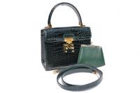 HELENE 1990's Dark Green CROCODILE Belly Skin Handbag or Shoulder Bag