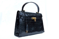 New! Jet Black CROCODILE Skin BIRKIN Bag BRIEF - HERMES Style!