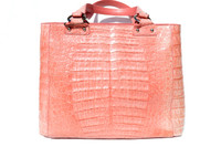 AMPLE 14 x 10 Early 2000's Rose PINK CROCODILE Caiman Belly Skin Shoulder Bag TOTE