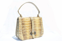 Lovely Pale Yellow & Tan 1950's-60's Crocodile Belly Skin Shoulder Bag