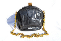 Jet Black 1940's-50's SURREY Original Alligator Skin Shoulder Bag