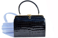 Fabulous 1950's-60's BELLESTONE BLACK Alligator Skin Handbag