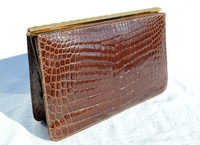 Fabulous HOLT RENFREW Brown 1950's-60's Crocodile Porosus Belly Skin CLUTCH Bag
