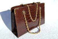 COBLENTZ 1950's-60's Chocolate Brown Alligator Belly Skin Handbag