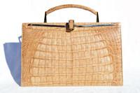 Tan Late 1980's-90's CROCODILE Skin CLUTCH Shoulder Bag Handbag - Cape Cobra
