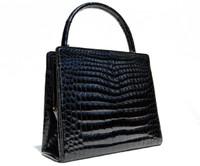 Stunning Black GUCCI 1980's CROCODILE Porosus Skin Handbag