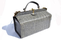 LARGE 1980's Gray CROCODILE Skin Doctor Bag Style Handbag - Locks!