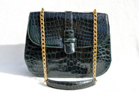 TEAL Green 1960's LUCILLE de PARIS Alligator Belly Skin SHOULDER Bag