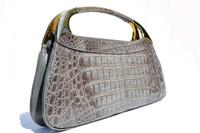 "RARE! Large 15"" GRAY 1970's-80's CROCODILE Skin Handbag Clutch Bag"