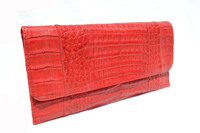 1990's-2000's Red CROCODILE Skin Envelope Style Clutch Shoulder Bag - CARLOS FALCHI