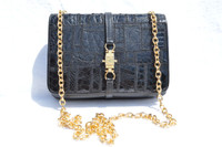 Jet Black 1980's-90's Patchwork CROCODILE Skin CROSS Body Shoulder Bag