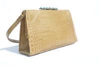 1950's-60's Blonde Tan CROCODILE POROSUS Evening Bag Handbag
