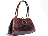 1950's-60's GOUT de PARIS Chocolate Brown Crocodile Belly Skin Handbag