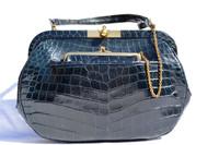 KORET 1940's-50's NAVY BLUE Alligator Skin Shoulder Bag w/Purse