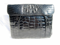 Jet Black 1930's-40's HORNBACK ALLIGATOR CLUTCH Bag