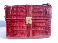 BURGUNDY 1980's CROCODILE Skin Shoulder Bag