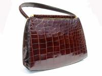 RENDL 1950's-60's Dk. BROWN ALLIGATOR Skin Handbag - I Magnin