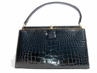 Sophisticated BLACK 1960's LUCILLE de PARIS Alligator Handbag