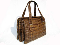 1980's-90's COCOA CROCODILE Belly Skin SATCHEL Handbag- MODELL ROYAL
