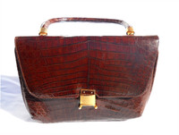 AMPLE COGNAC 1950's-60's CROCODILE Skin Bag - ARGENTINA