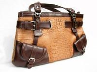 19 x 10 Tan & Brown 1990's Hornback CROCODILE & Leather SHOULDER Bag