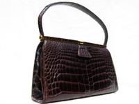 RENDL ORIGINAL 1950's-60's Chocolate Brown Alligator Handbag