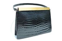 1950's-60's Black CROCODILE POROSUS Evening Bag
