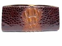 "Stunning 13.5"" 1960's-70's HORNBACK Crocodile Skin CLUTCH"