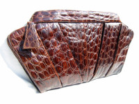 "Large 17"" 1940's-50's Chocolate DECO Style ALLIGATOR Skin CLUTCH"