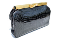 SAKS France 1950's-60's Black CROCODILE POROSUS Evening Bag