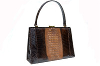 LARGE 1950's-60's Hornback Crocodile Skin Handbag Shoulder Bag
