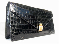 COBLENTZ 1950's-60's Jet Black ALLIGATOR Belly Skin CLUTCH Bag