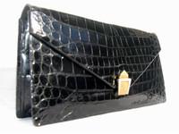 COBLENTZ 1950's-60's Jet Black ALLIGATOR Belly Skin CLUTCH Bag