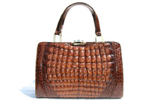 AMPLE 1980's-90's Brown CROCODILE Caiman Belly Skin Handbag