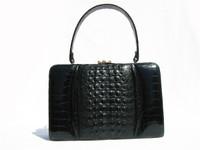 Fabulous JET BLACK 1950's-60's Hornback CROCODILE Handbag