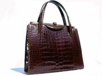Classic 1950's-1960's LUCILLE de PARIS Chocolate Alligator Bag