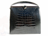 BLACK 1960's LUCILLE de PARIS Alligator Belly Evening Bag - Jewels