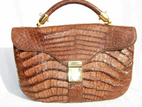 1970's-80's COCOA CROCODILE Belly Skin Handbag - GOLDPFEIL