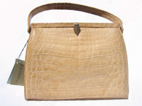 RARE! 1960's Matte Finish LUCILLE de PARIS Blonde Alligator Bag w/TAGS!