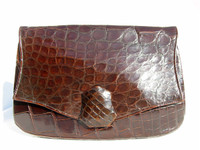 DECO Style 1940's-50's Chocolate ALLIGATOR Skin Clutch Bag