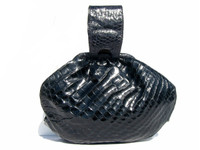 Gorgeous 1950's-60's NAVY BLUE CROCODILE Skin WRISTLET Purse