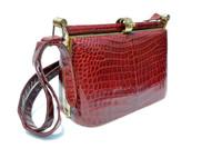 Rare 1950's RUBY RED Crocodile Skin Shoulder Bag