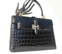 Classic BLACK 1950's-60's LUCILLE de PARIS Alligator Belly Purse