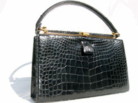 Classic BLACK 1960's LUCILLE de PARIS Alligator Handbag
